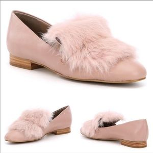 Donald Pliner Lilian Rabbit Fur Pink Loafers 9.5